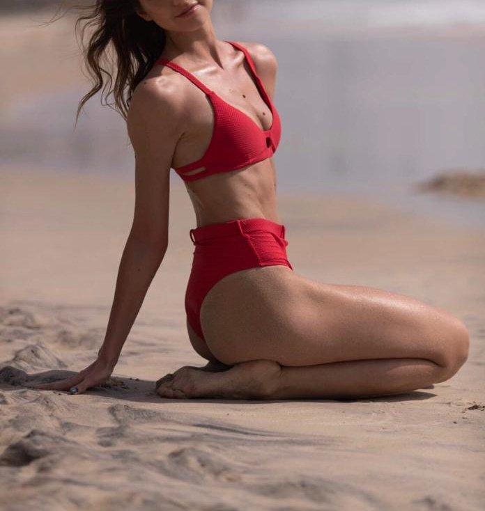 Elena in a red bikini