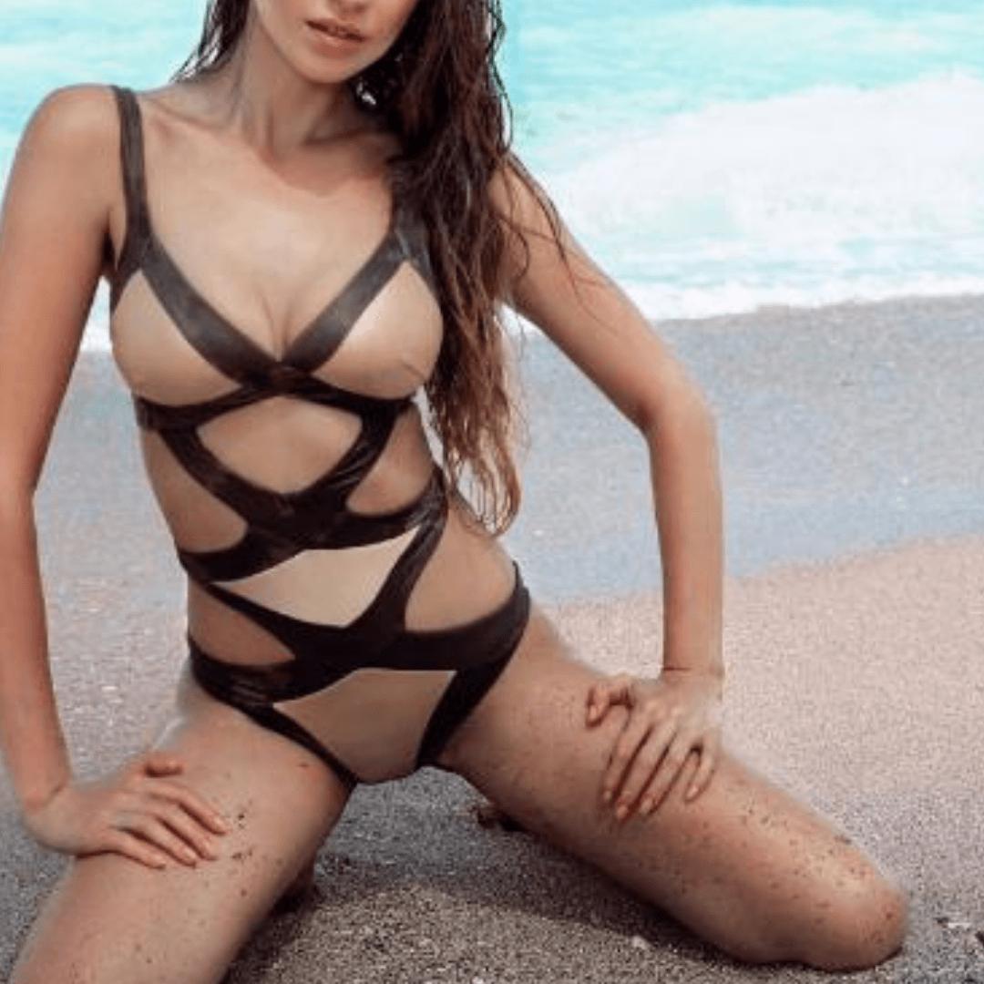 London escort model on the beach