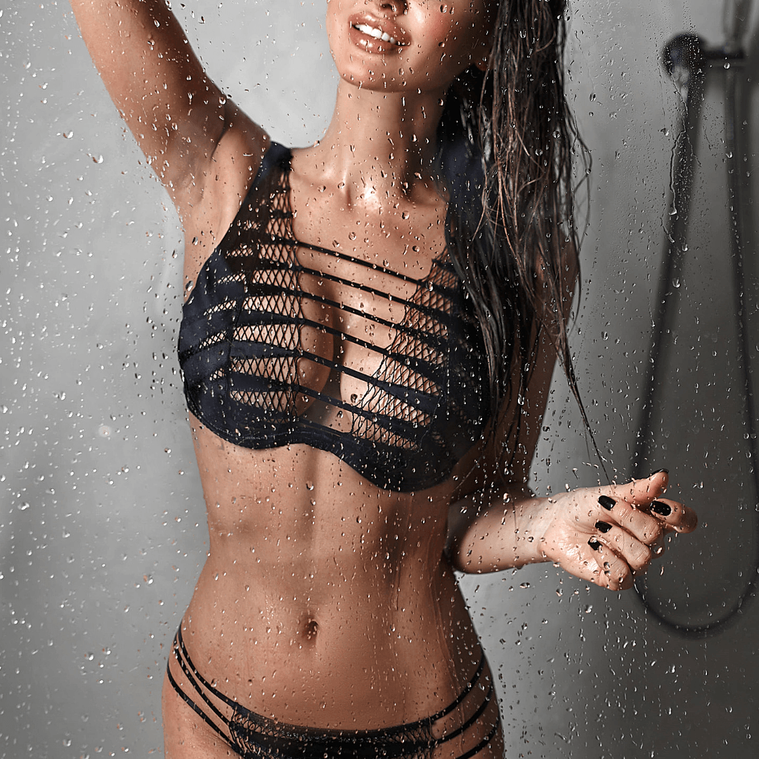 London escort model in the shower