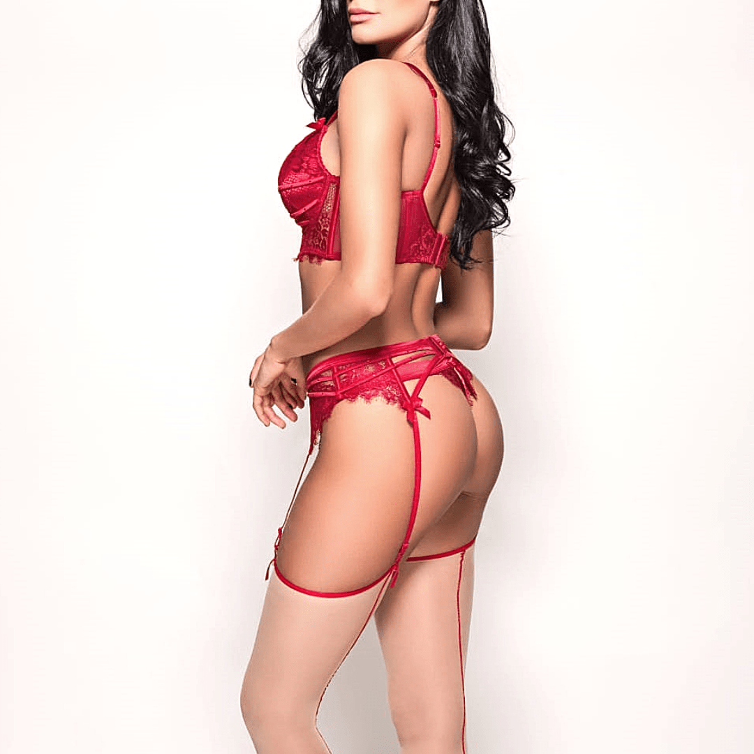 escort model in red sexy lingerie