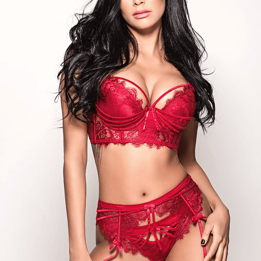 Beautiful model in red