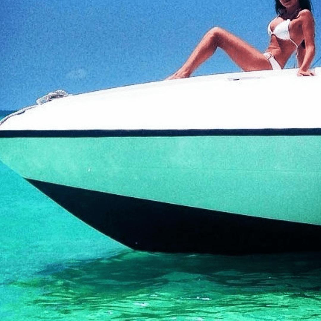 Geneva luxury escort model on a boat