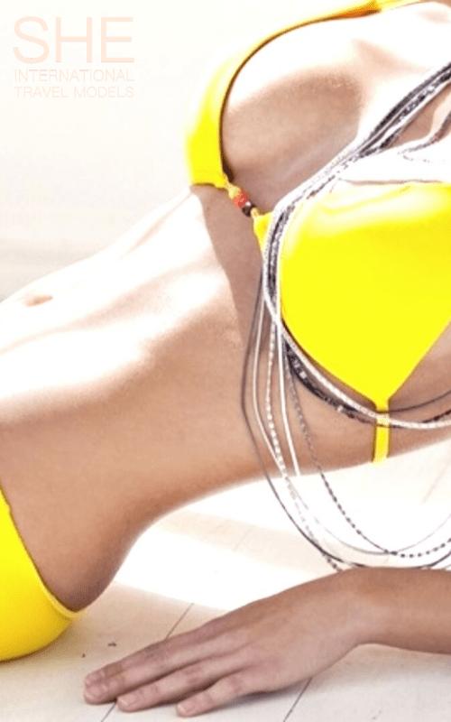 Lily in her Yellow bikini