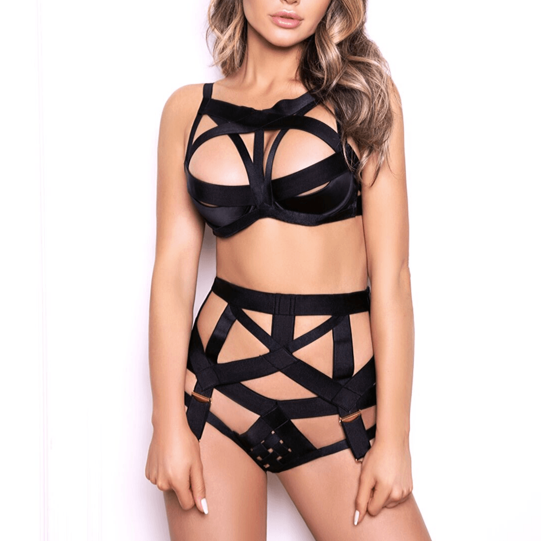 Escort model in Black domination lingerie