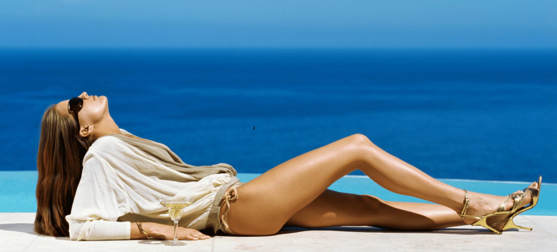 escort model at the infinity pool